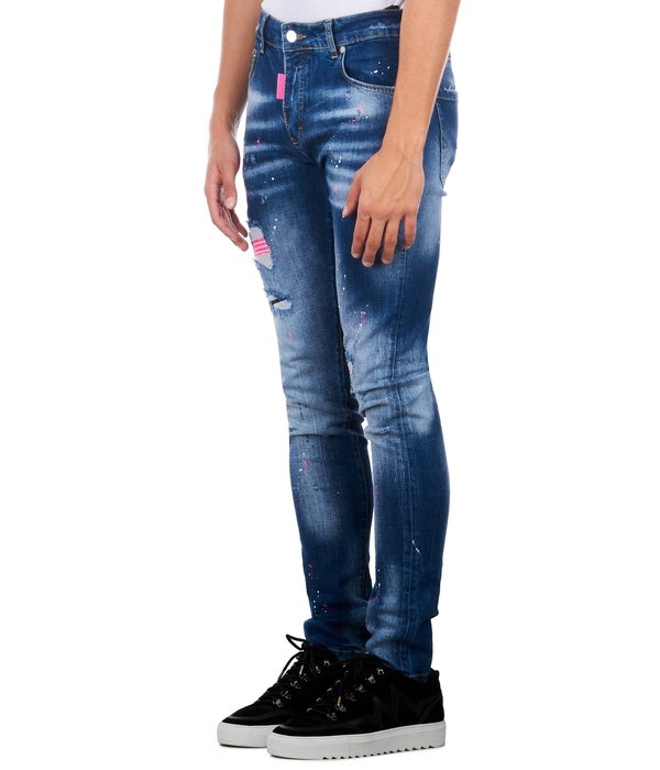 My Brand My Brand Neon Pink Studded Washed Jeans Denim Blue