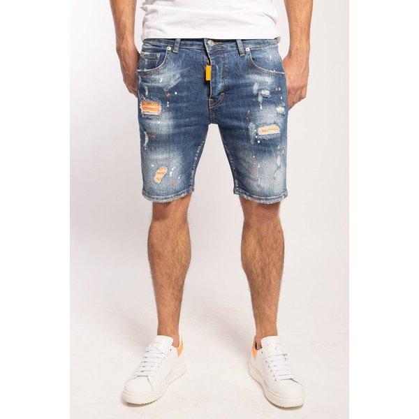 My Brand Washed 1J Short Jeans Denim Blue Orange