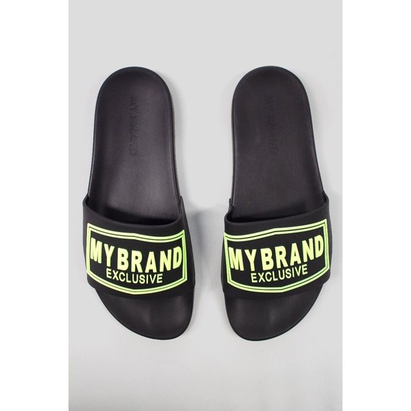 My Brand Square Logo Slipper Black Yellow Neon