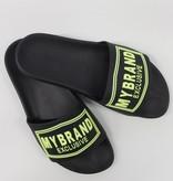 My Brand My Brand Square Logo Slipper Black Yellow Neon