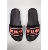 My Brand My Brand Square Logo Slippers Black Orange Neon