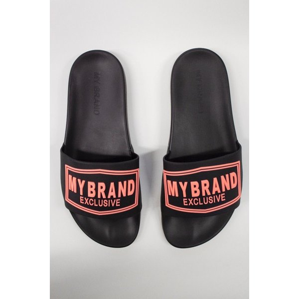 My Brand Square Logo Slippers Black Orange Neon
