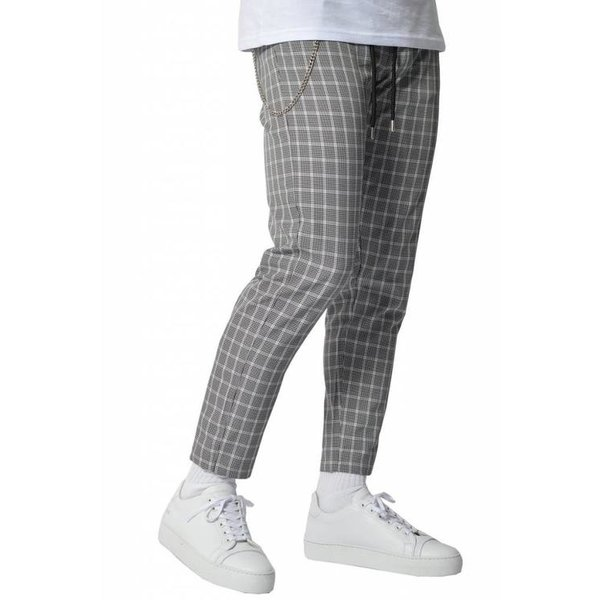 YCLO Elias Checkered Pants Black White