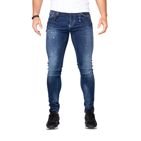 LEYON Yellow Spotted Jeans Blue 1674