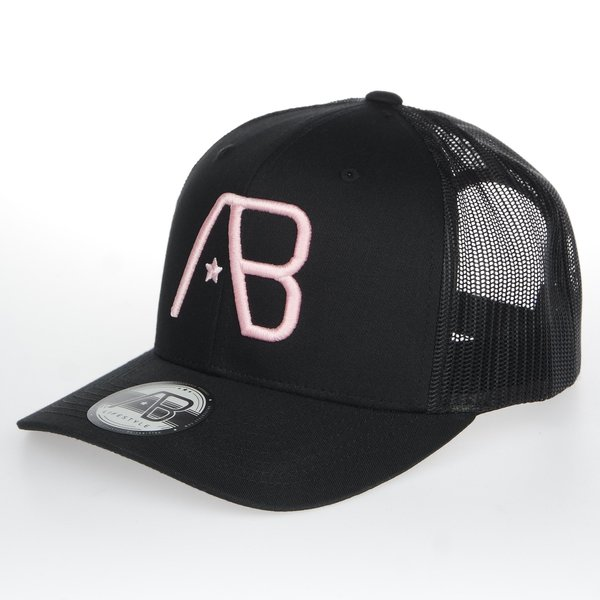 AB RETRO Trucker Cap Pink on Black