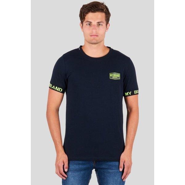 My Brand Taped Sleeve T-shirt Neon Navy
