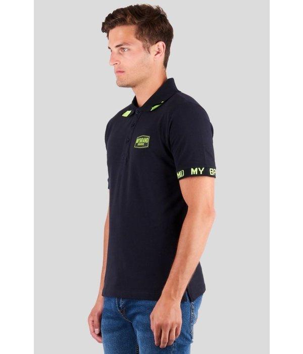 My Brand My Brand Taped Logo Sleeve Polo Neon Navy