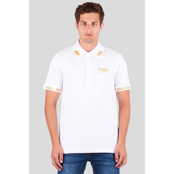 My Brand Tape Logo Sleeve Polo Neon White