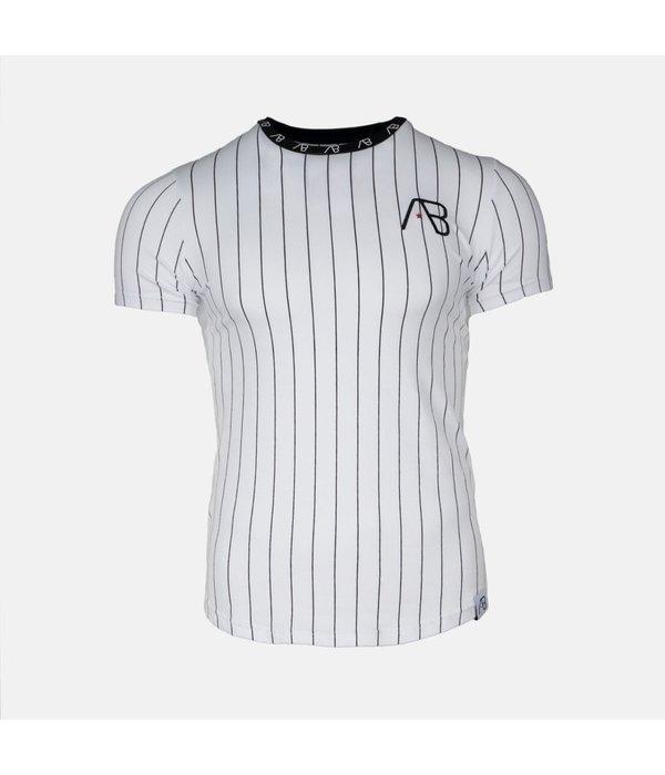 AB-Lifestyle AB Lifestyle Baseball Pinstriped Tee White