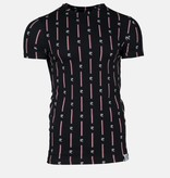 AB-Lifestyle AB Lifestyle T-shirt all over print logo zwart