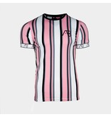 AB-Lifestyle AB Lifestyle Tee The Bronx Striped Roze/Grijs