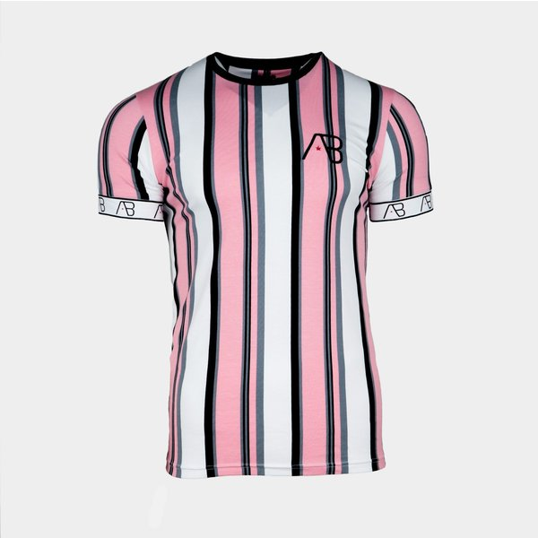 AB Lifestyle Tee The Bronx Striped Roze/Grijs