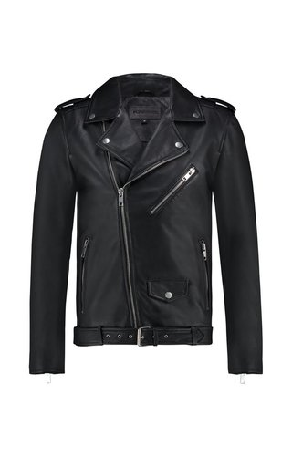 Purewhite Purewhite Classic Leather Biker Jacket Black