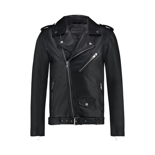 Purewhite Classic Leather Biker Jacket Black