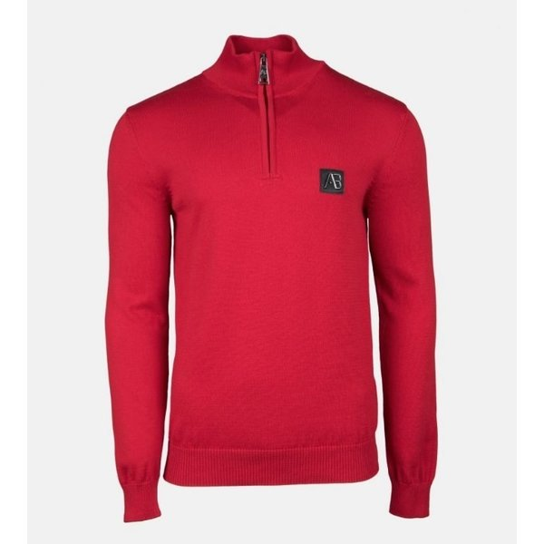 AB Half Zip Tricot Sweater Rood