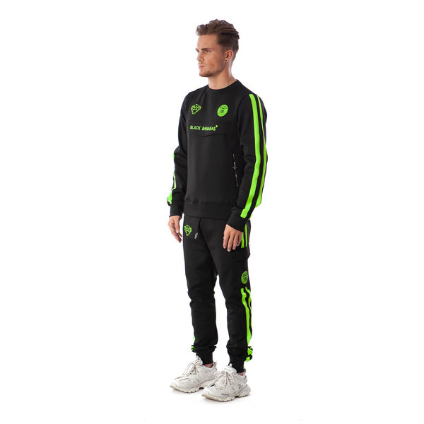 Black Bananas Anorak Double Stripe Tracksuit Neon Green