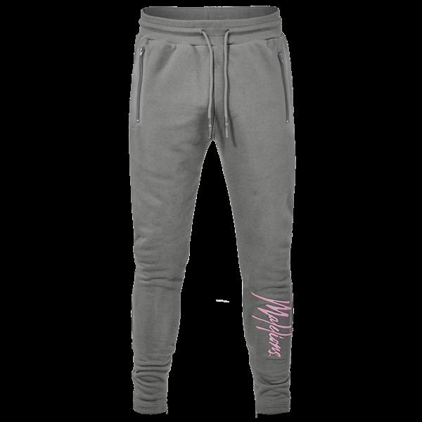 Malelions Trackpants Signature matt Grey/ Pink