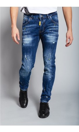 My Brand My Brand Blue Faded Yellow Spot Jeans