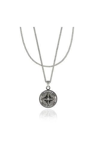 Croyez Croyez Compass W/ round Boxchain Sterling Silver