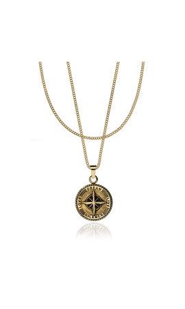Croyez Croyez Compass W/ round Boxchain 14k gold