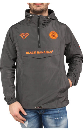 Black Bananas Black Bananas SS20 The Anorak Windbreaker Grey/Neon orange
