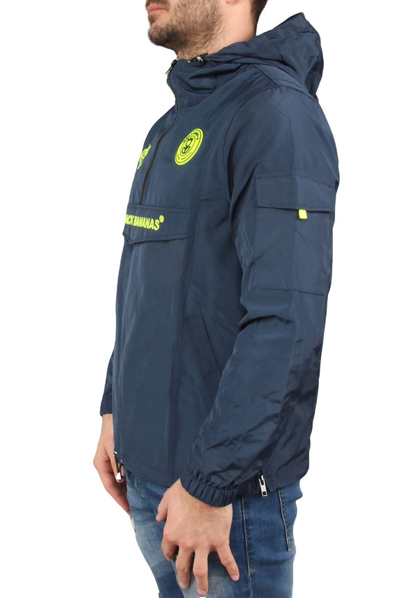 Black Bananas SS20 The Anorak Windbreaker Navy/Neon Yellow