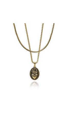 Croyez Croyez Sacred Heart W/ Round Boxchain 14k gold