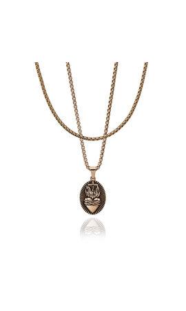 Croyez Croyez Sacred Heart W/ Round Boxchain 18k rosegold