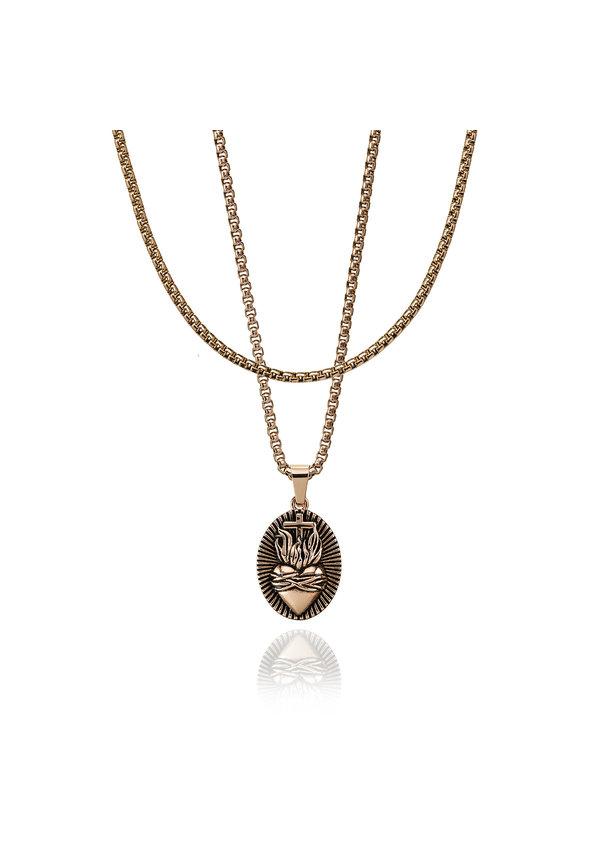 Croyez Sacred Heart W/ Round Boxchain 18k rosegold