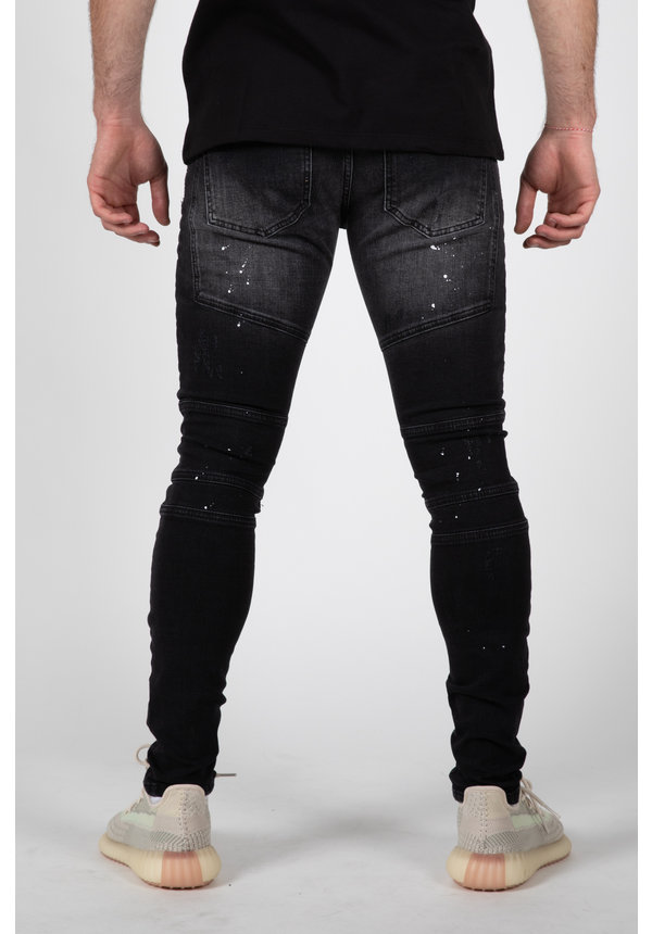 LEYON Ribbed Black Jeans Spotted 2044
