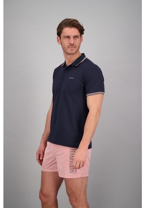 Airforce ss20 HRM0655 Polo Double Stripe Navy/Roze