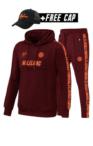 Malelions Malelions MS-AW20-1-1 Sport Tracksuit Warming Up Bordeaux-Koral Red