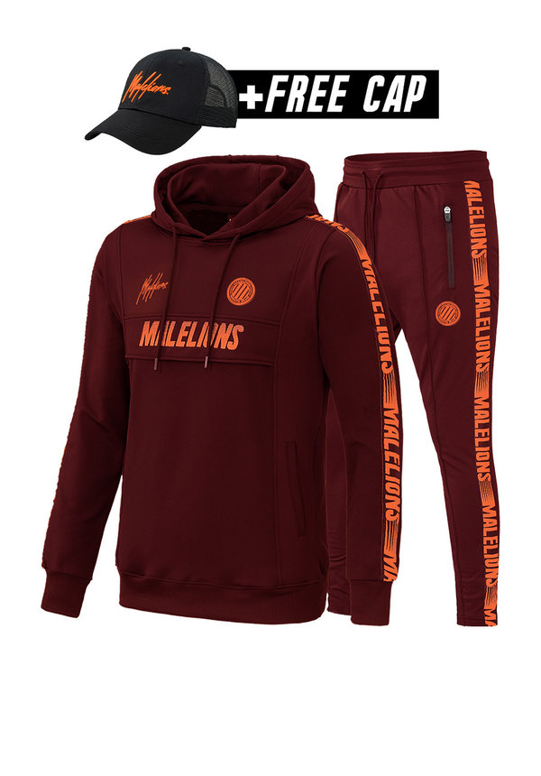 Malelions MS-AW20-1-1 Sport Tracksuit Warming Up Bordeaux-Koral Red