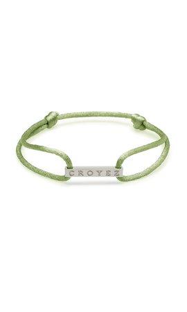 Croyez Croyez Satin Cord Croyez Logo Green Silver
