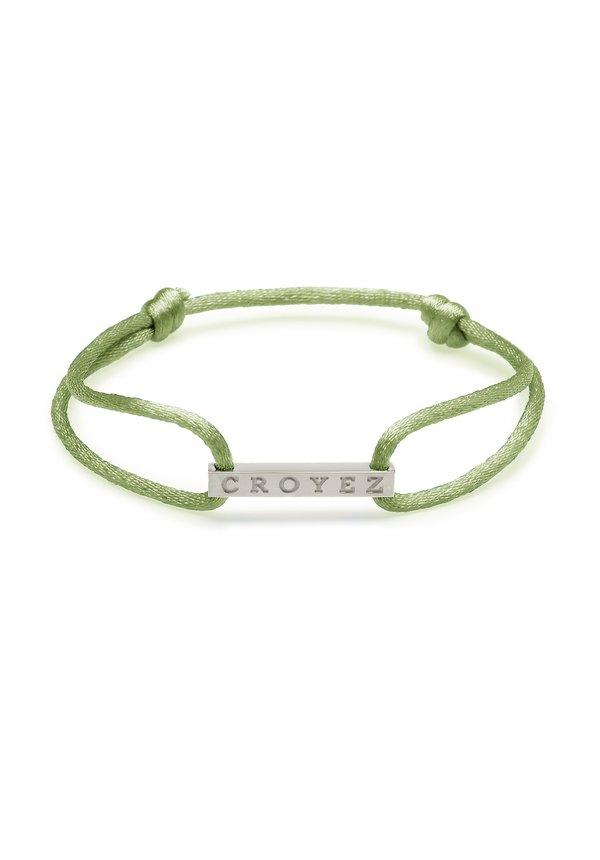 Croyez Satin Cord Croyez Logo Green Silver