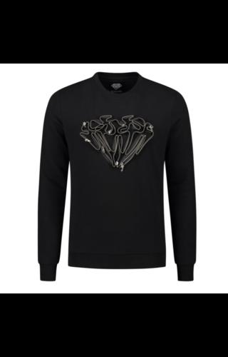 Elegante Elegante Diamond Zipper Sweater Black