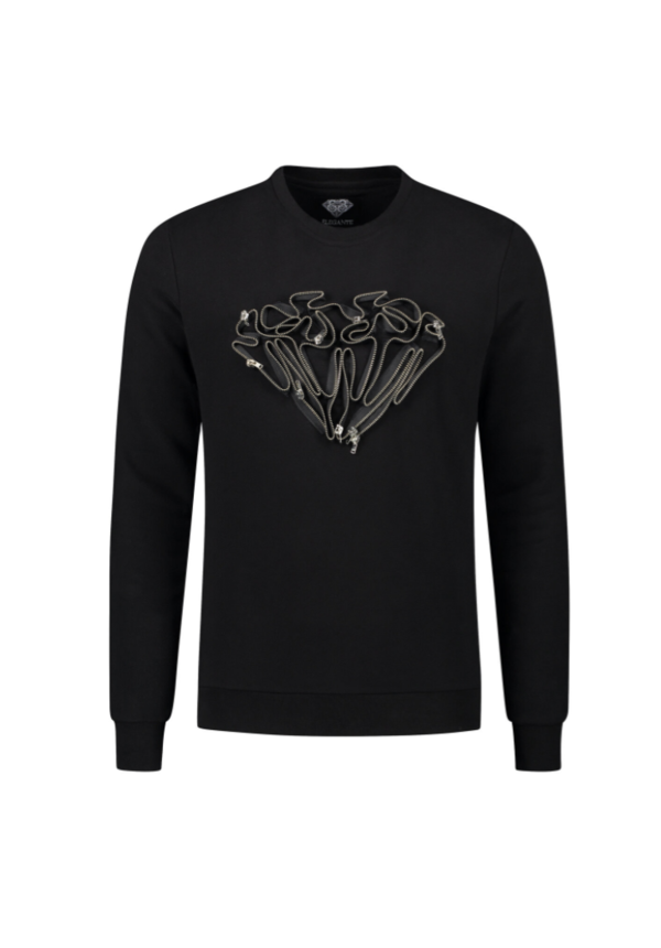 Elegante Diamond Zipper Sweater Black