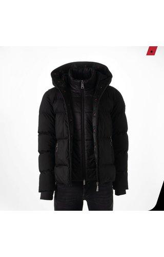 AB-Lifestyle AB-LIFESTYLE Hooded Down Jacket- Black