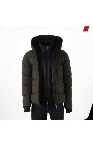 AB-Lifestyle AB-LIFESTYLE Hooded Down Jacket -Leger Groen -
