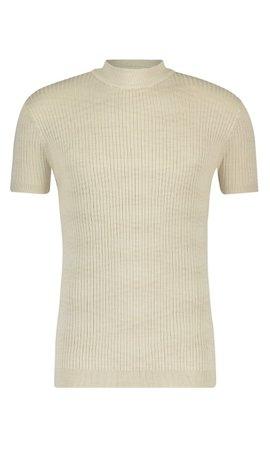 Purewhite SS21 21010823 Hals T-Shirt Ribbel Sand