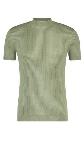 Purewhite SS21 21010823 Hals T-Shirt  Ribbel Army Green