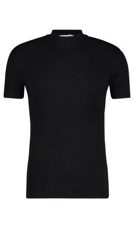 Purewhite SS21 21010823 Hals T-Shirt Ribbel Black