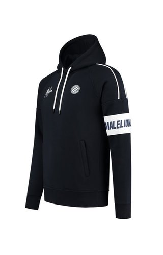 Malelions Sport Coach Hoodie Dark Navy - White