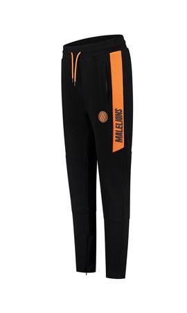 Malelions Sport Coach Trackpants Black- Neon Orange