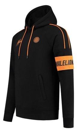 Malelions Sport Coach Hoodie Black - Neon Orange