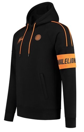 Malelions Sport Coach Hoodie Black - Neon Orange