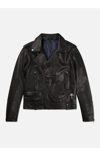 Off The Pitch OTP The Biker Leather Jacket Black