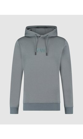Purewhite 3D Embroidered Graphic Hoodie - Blue