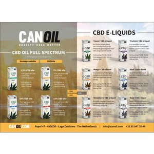 Canoil CBD Olie & CBD e-liquids 20 flyers Duitstalig