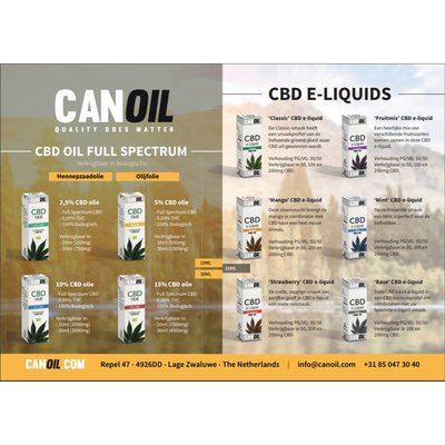 Canoil CBD Olie & CBD e-liquids 100 flyers Engels